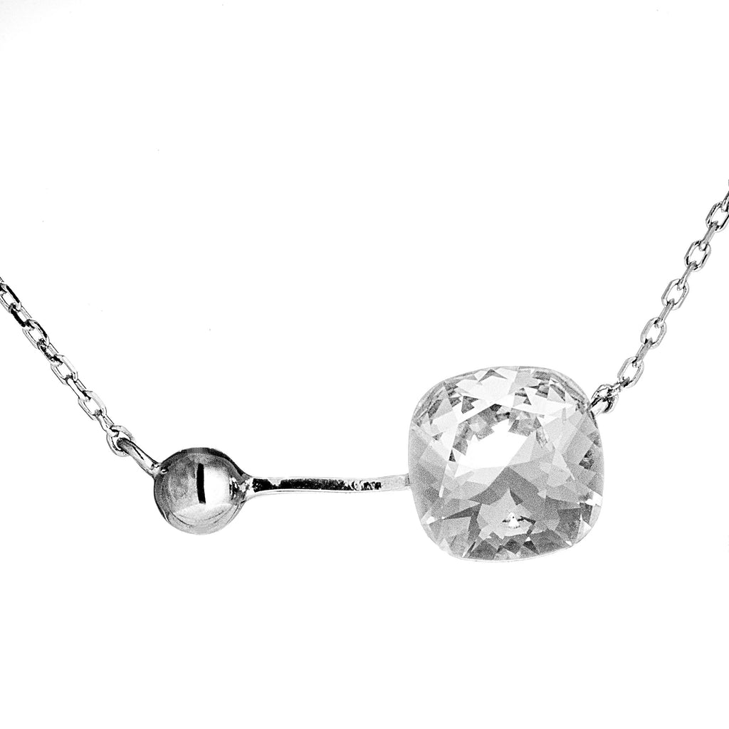 Unique Designed Dazzling Necklace with Clear Crystal in Sterling Silver