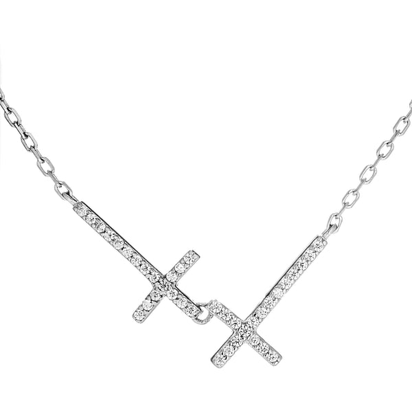 Lord Bless You,Double Cross Necklace with Clear CRYSTAL in Sterling Silver
