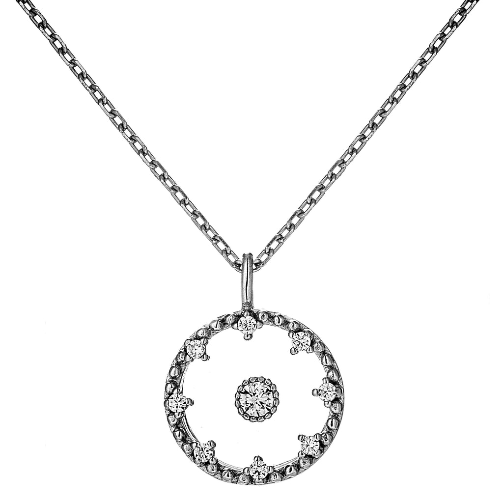 Halo Rounds Flower Necklace with Clear CRYSTAL in Sterling Silver
