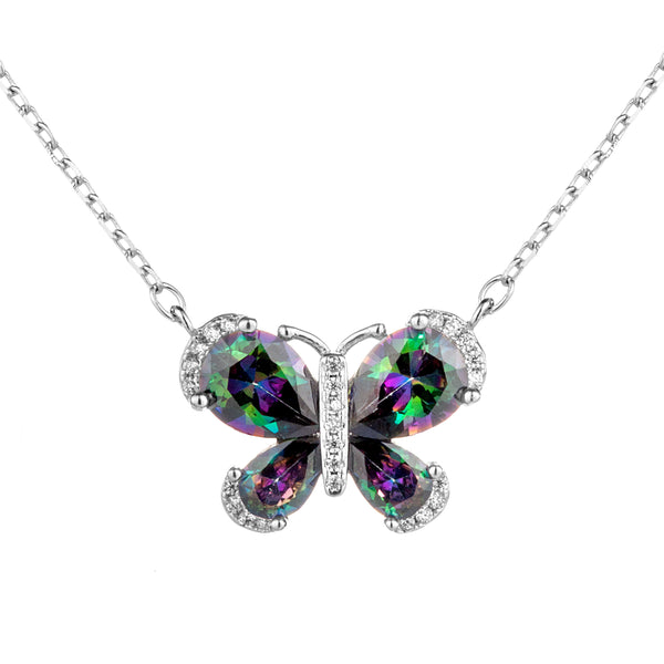 Dazzling Butterfly Necklace with Multicolor CRYSTAL in Sterling Silver
