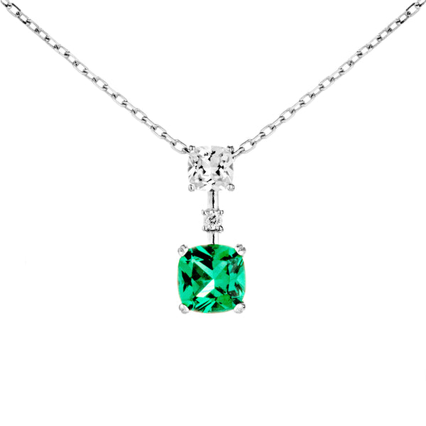 Classic Square Necklace with Green & Clear CRYSTAL in Sterling Silver