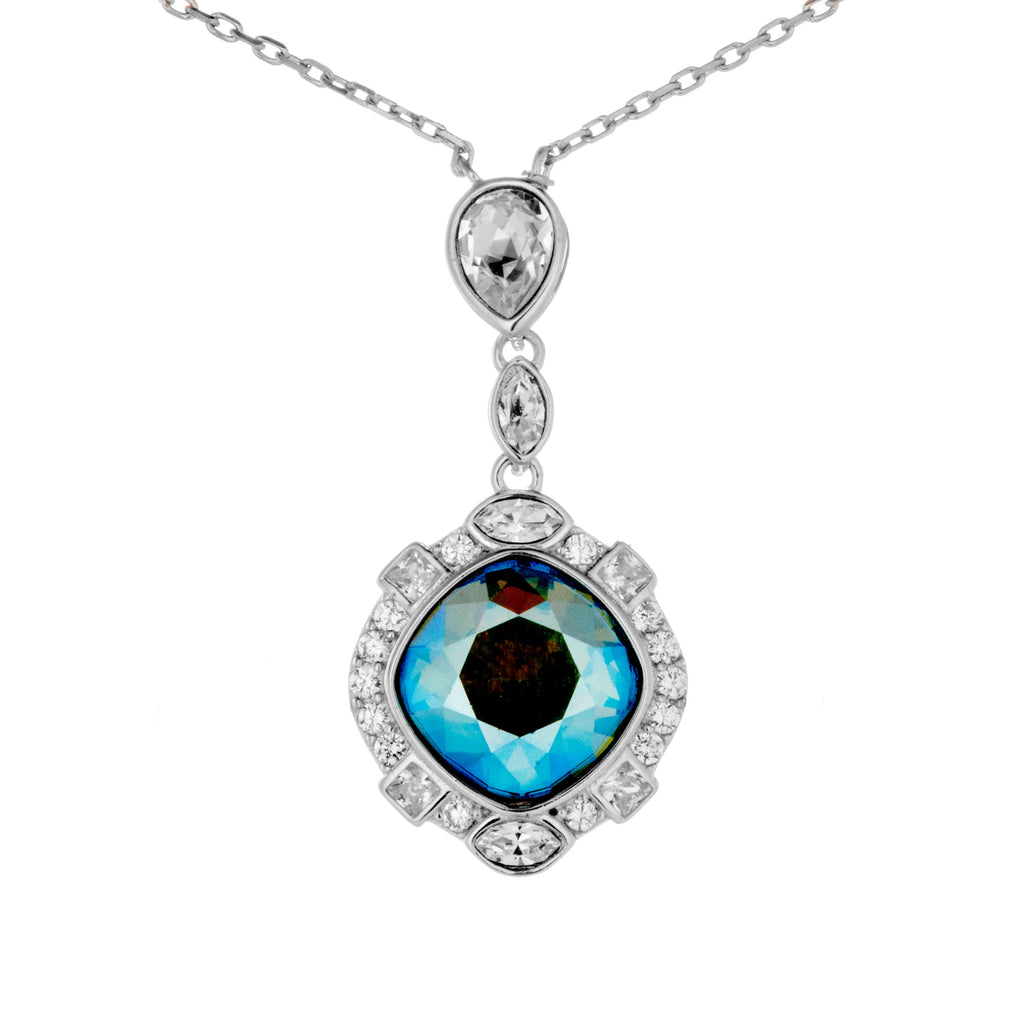 Disney Magic Mirror Necklace with Dazzling Blue crystal in Sterling Silver