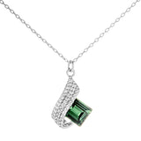 Irregular Clear Crystal Wave Round Green Square Green Crsytal Necklace in Sterling Silver
