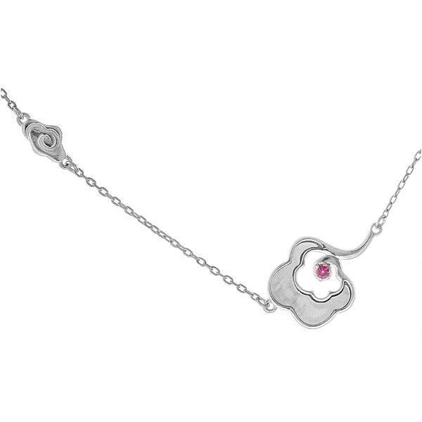 Beige Auspicious Cloud Sideways Necklace in Sterling Silver