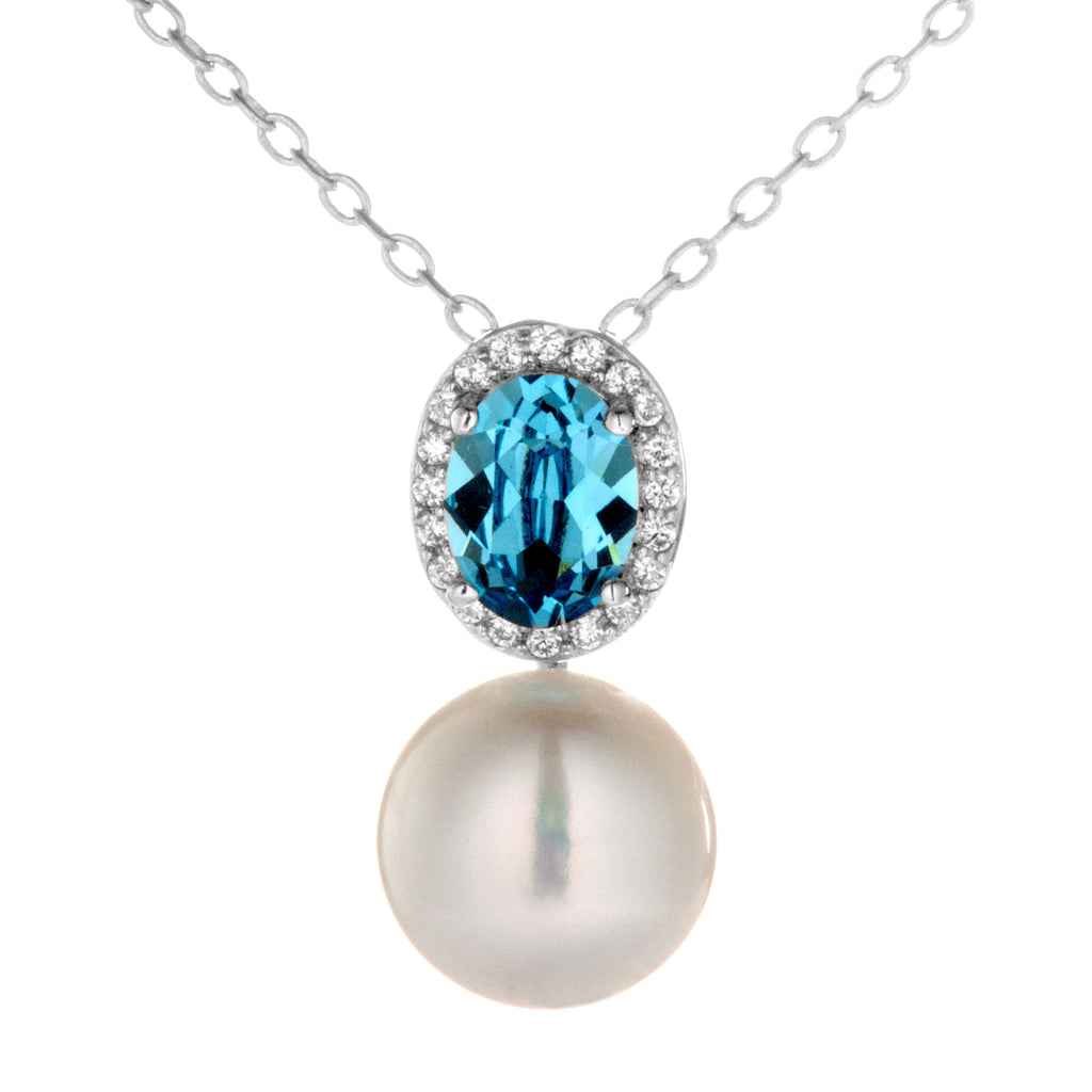 Classical Light Blue Crystal Necklace With Mother of Pearl in Sterling Silver