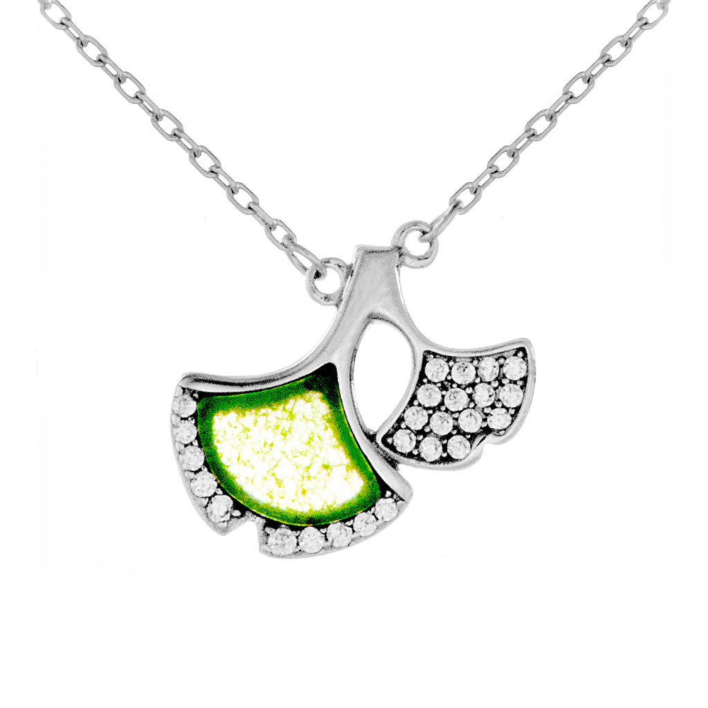 Unique Design Leaf-Like Fan with Green & Clear Crystal in Sterling Silver