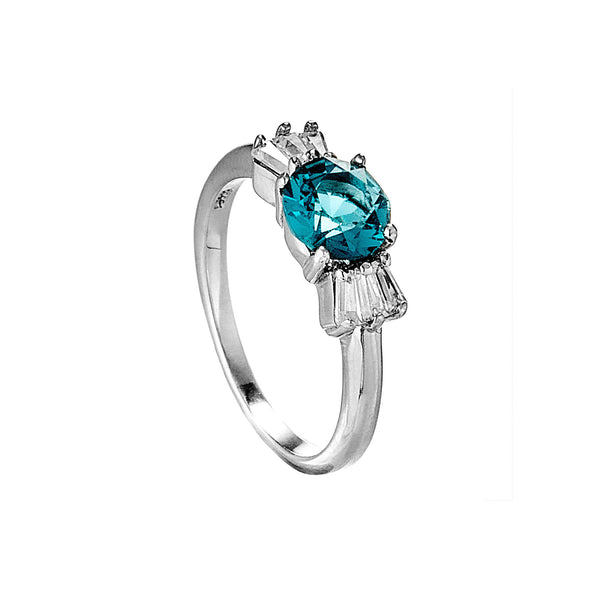 Fancy Blue Crystal Ring in Sterling Silver