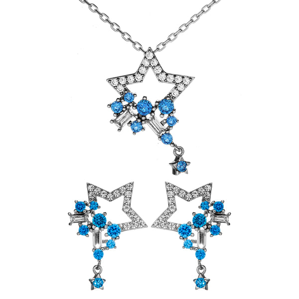 Shooting Stars River  Necklace & Earrings Set with Blue Crystal In Sterling Silver