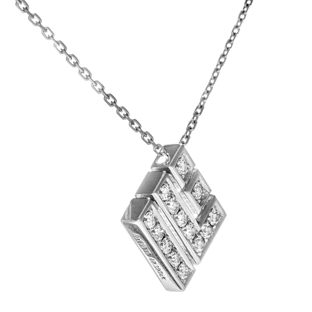 Elegant Square Shaped Necklace with 18K White Gold & Diamond