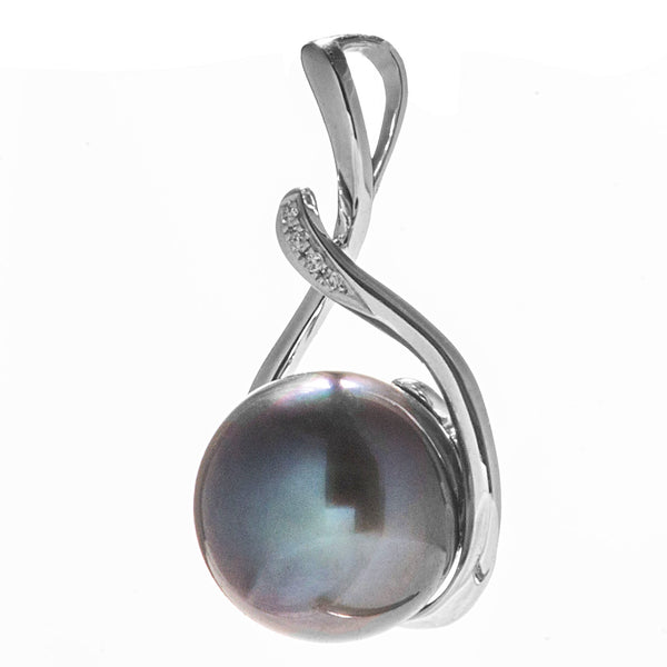 18k White Gold Tahiti Peacock Black Sea Water Pearl Pendant
