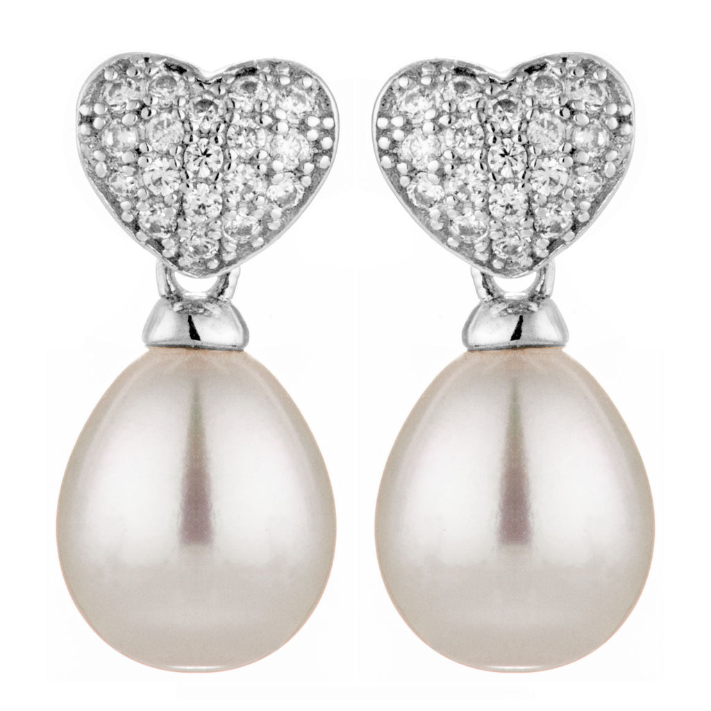 Sparkling Heart Fresh Water Pearl Earrings with Clear Crystals in Sterling Silver