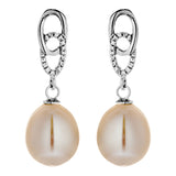Traditional White Fresh Water Pearl Earrings with Linked Crystal in Sterling Silver