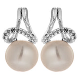 Virtual Tower Wave Fresh Water Pearl Stud Earrings in Sterling Silver