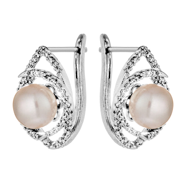 The Eye of Ocean Fresh Water Pearl Earrings with Clear Crystals in Sterling Silver