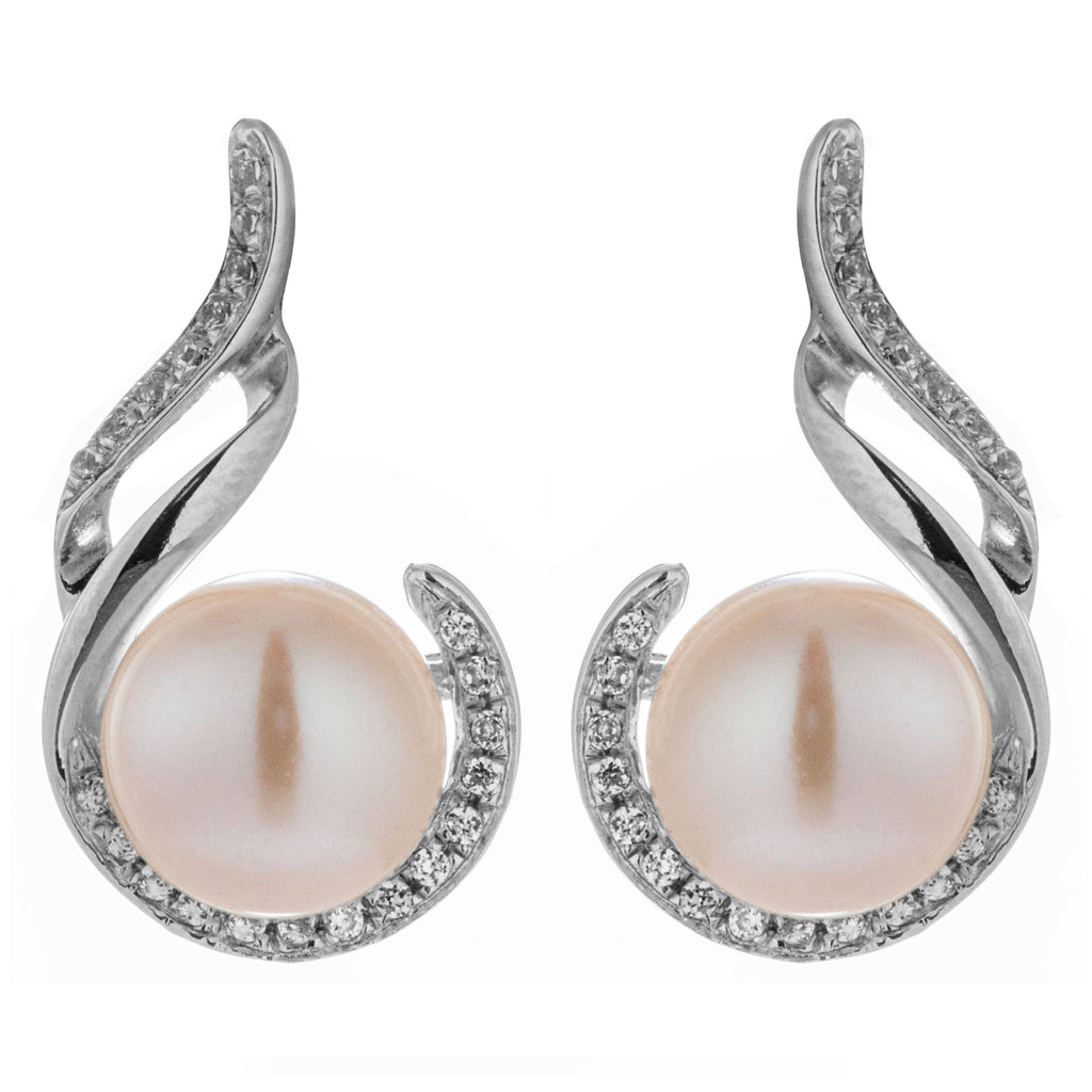 The Sound of Music Fresh Water Pearl Earrings with Clear Crystals in Sterling Silver