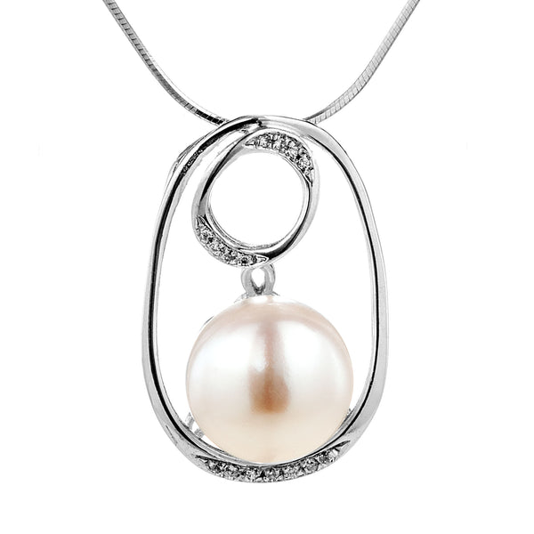 Double Hoop Pendant with White Fresh Water Pearl in Sterling Silver