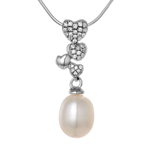Heart Cluster Pendant with White Fresh Water Pearl in Sterling Silver