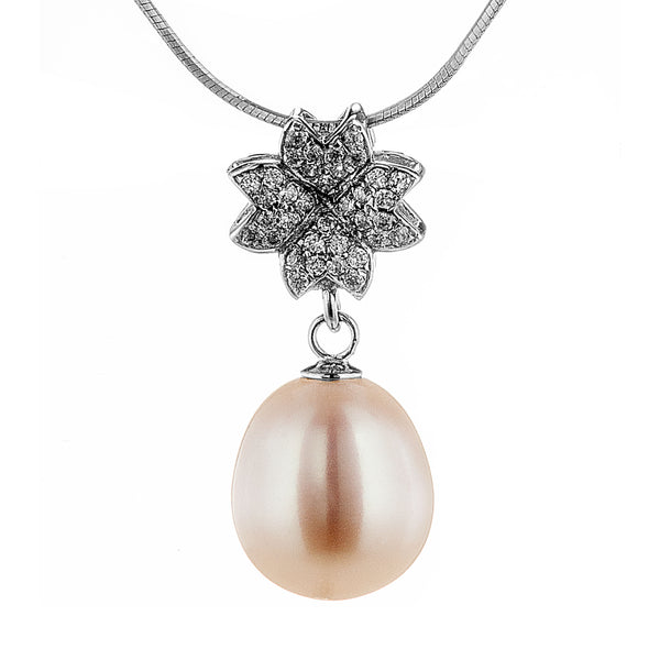 Flower Petals Pendant with White Fresh Water Pearl in Sterling Silver