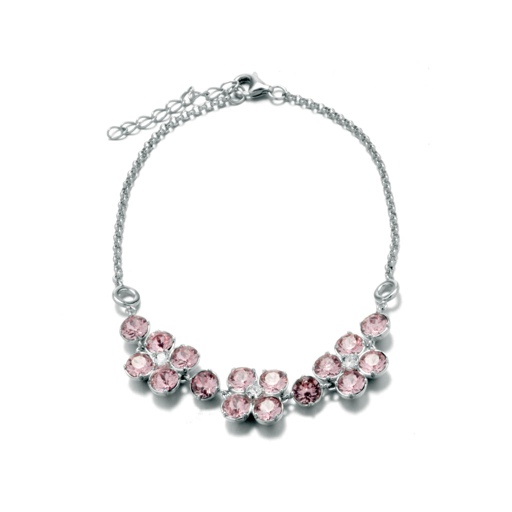 Cherry Blossoms Bracelet With Light Pink Crystal in Sterling Silver