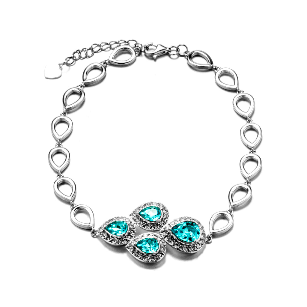 Tear Drop Combination Bracelet with Light Blue Crystal in Sterling Silver
