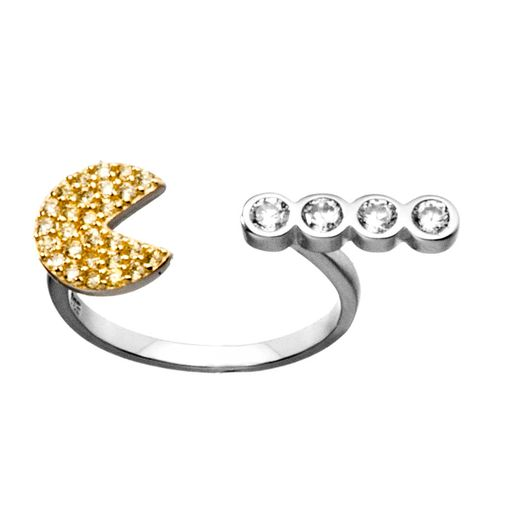Adjustable Pac-man Unique Design Yellow Clear Crystal Ring in Sterling Silver