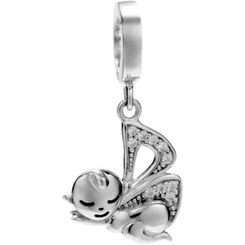 Butterfly Fairy Baby with Angel Wings Hanging Charm in Sterling Silver