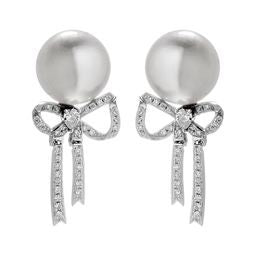 18K White Gold Elegant Bow Earrings with Akoya Sea Water Pearl