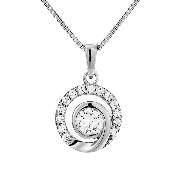 Elegant Round Pave Crystal Pendant Necklace in Sterling Silver