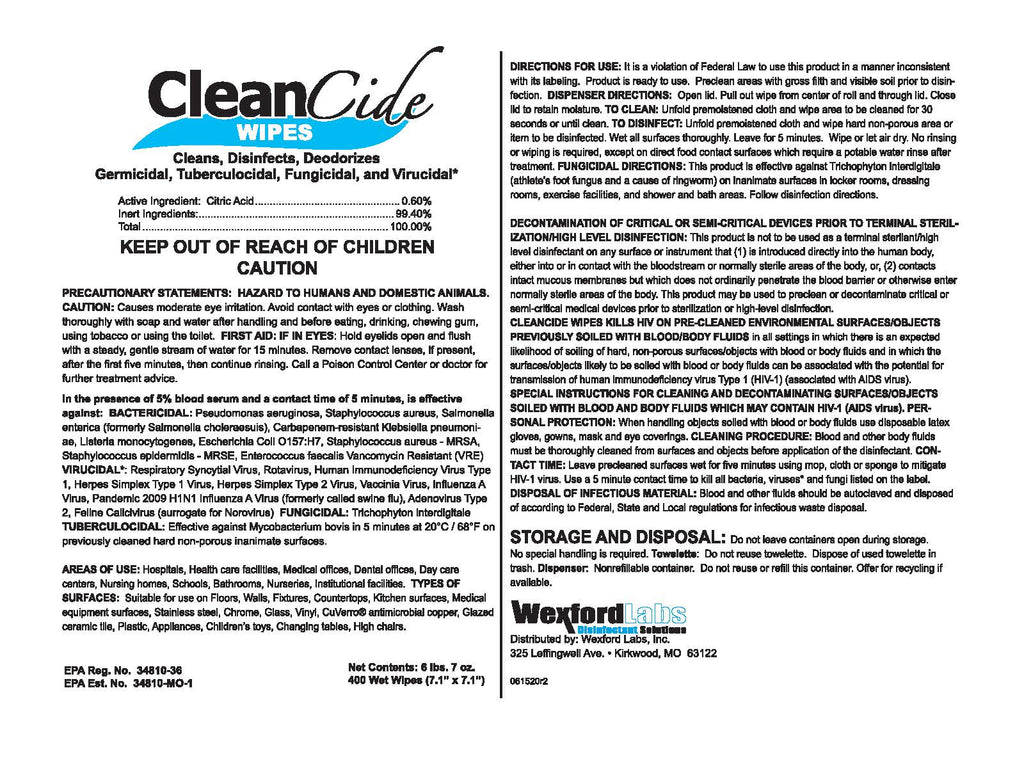 CleanCide® Germicidal Disinfectant Wipes - 400 ct Tub - Kills Covid
