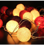 20 LEDs Cotton Ball String Lights AC & Battery Fairy Lights Outdoor Decoration