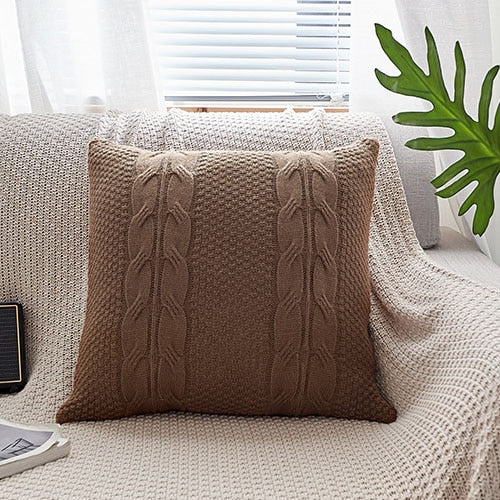 Double Cable Knit Cushion Cover