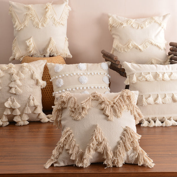 Boho Style Cushion Cover Plush With Tassels