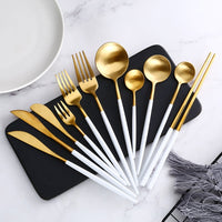 White Gold Dinnerware Steak Knife Fork Coffee Spoon