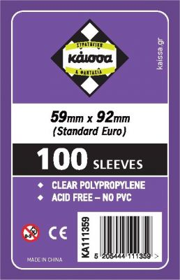 Kaissa Board Game Sleeves 59x92 (Standard European Soft) 100-Ct