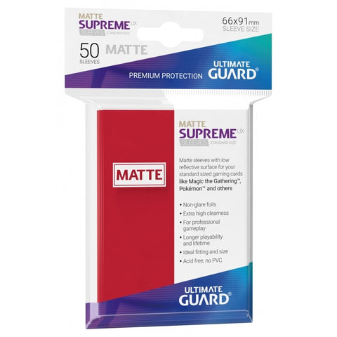 Ultimate Guard Supreme UX Matte Sleeves Standard Size (Red)