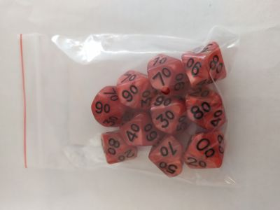 Kaissa Pearl D10 Red/Black Dice