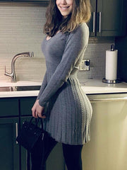 Round Neck Long Sleeve Solid Color Dress