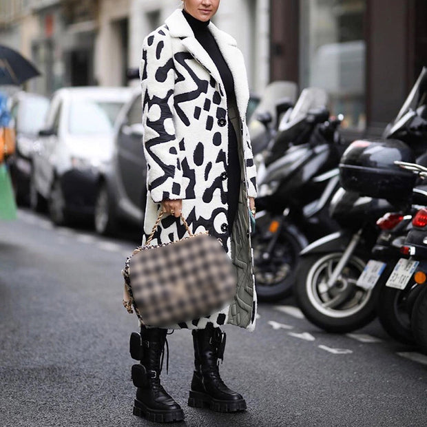 Fashionable casual printed single-breasted overcoat dwq37