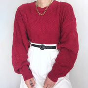 Casual Pure Color Round Neck Shoulder Sleeve Loose Sweater wq04