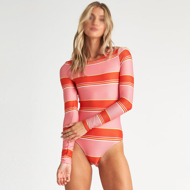 Striped printed open-back surfsuit wetsuit BJ121