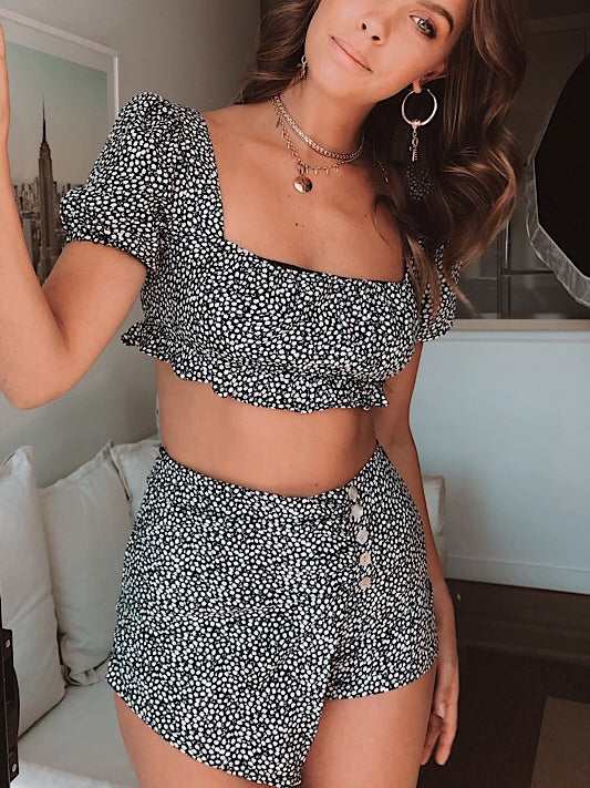 Sweet floral print mini top two-piece pant