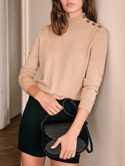 High-necked button-knit simple base top BJ22