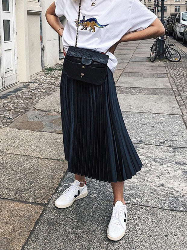 Women's Trendy Casual Style Dark Blue Pleated Skirt ywy26