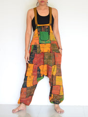 Women's Fashion Multicolor Geometric Pattern Loose Beam Strap Jumpsuit RY63