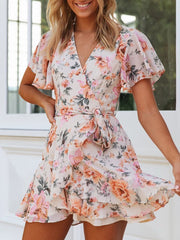 Bohemian printed ruffle crop dress