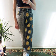 Fashion sun pattern high waist long jeans