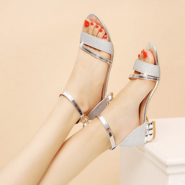 New bright leather buckle wild women's sandals