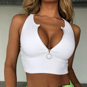 Women's Solid Color Zip Tank Top
