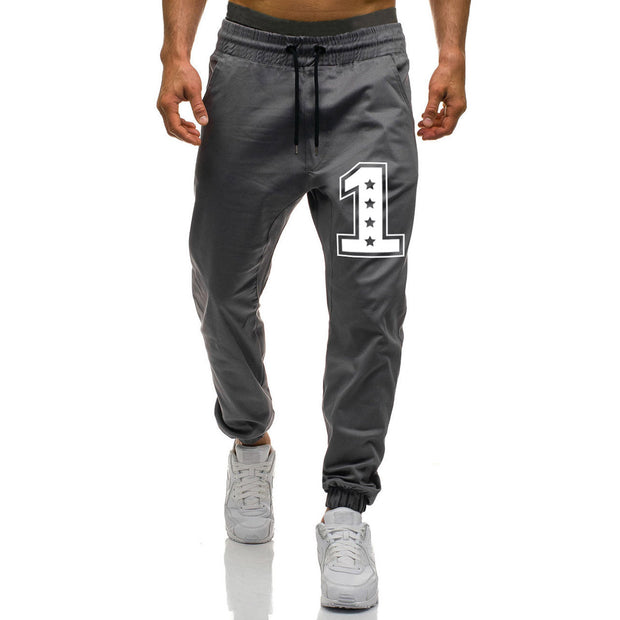 MenS 1-Line Printed Solid Color Sports Trousers