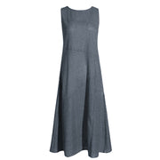 Womens Striped Round Neck Sleeveless Dress RY92